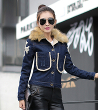 Plus size jackets for women winter korean fashion flower embriodery fur neck denim jeans blue short jackets and coats Nora151232