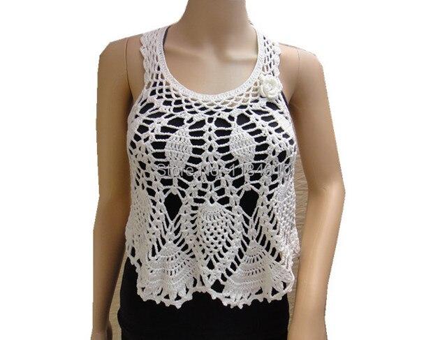 White Crop Tank Top Crochet Halter Top Pineapple Pattern In Tank