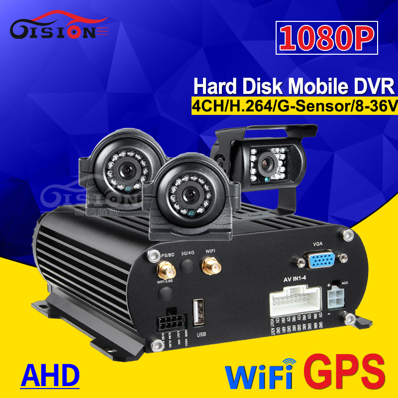 WIFI GPS 4CH HDD Hard Disk Video Recorder Mobile Dvr With 2Pcs 2.0MP Front Side +1 Back Reverse Backup Camera For Bus Taxi Van