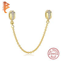 TOP Quality Hot Silver Gold Color Safety Chain Charm Beads Fit Original Pandora Bracelet For Women