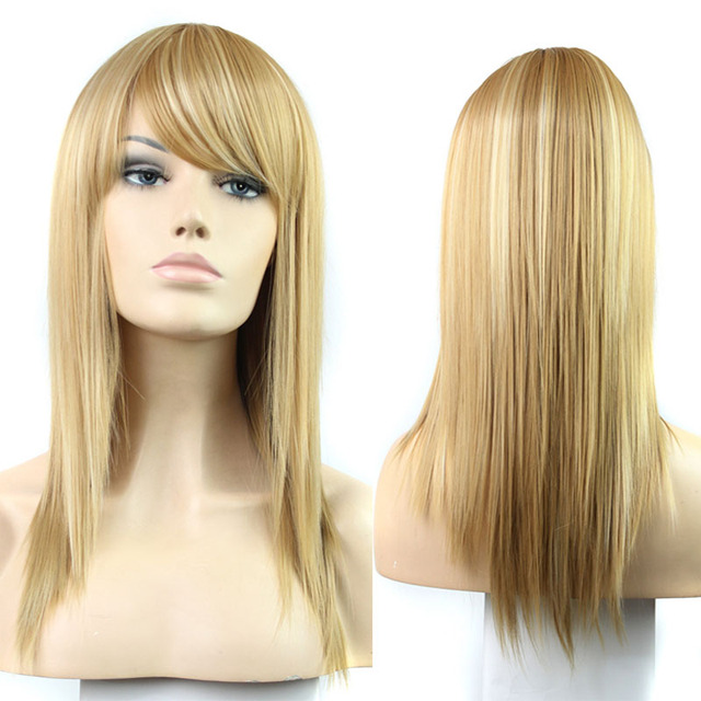 Long Straight Strawberry Blonde Highlight Bleach Blonde Wig