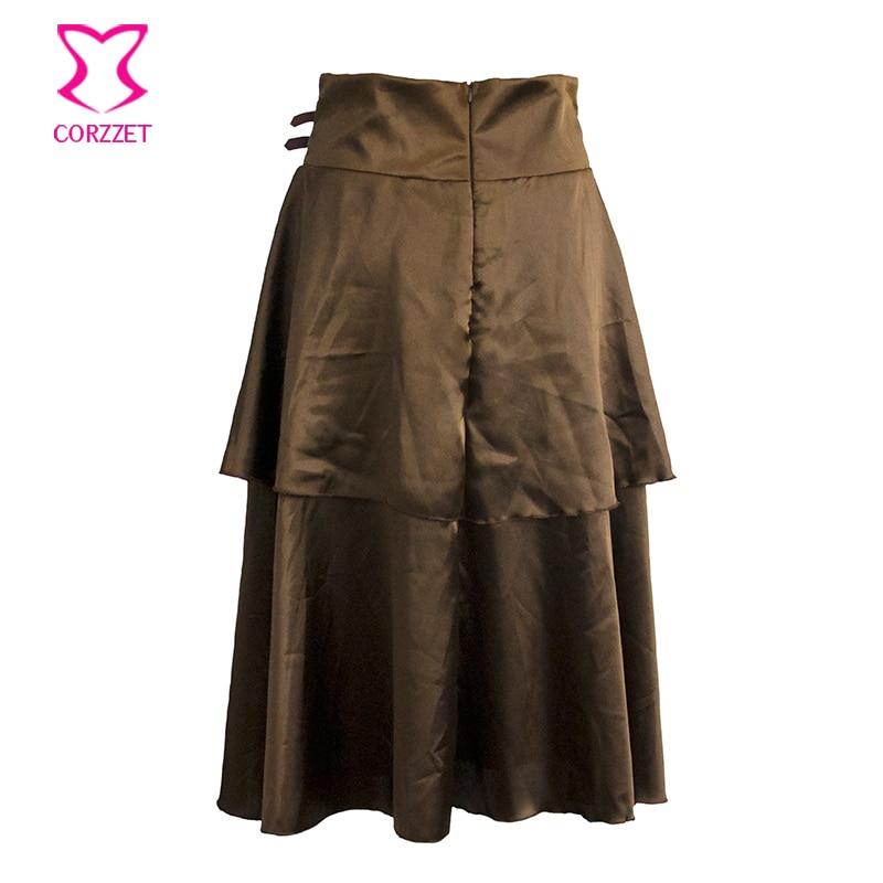 Vintage Brown Layered Satin Gothic Կիսաշրջազգեստ - Կանացի հագուստ - Լուսանկար 3