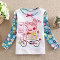 2-5 anos 2 3 4 5 marca nova do bebê da menina outono dos desenhos animados manga comprida t camisa floral impressão bonito crianças roupas bordados