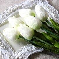 Uroczy Ładna 20 Sztuk Sztuczna Prawdziwy Dotyk PU Białe Tulipany Tabeli Symulacji Singiel Macierzystych Bukiet Wedding Party Decor