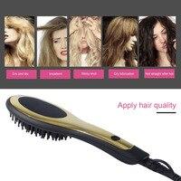 Calor infrarrojo Straight Hair & Curl Cabello Spray Para El Cabello Peine Cepillo con Ajustable Temperatura antiquemaduras Natural Venta Caliente