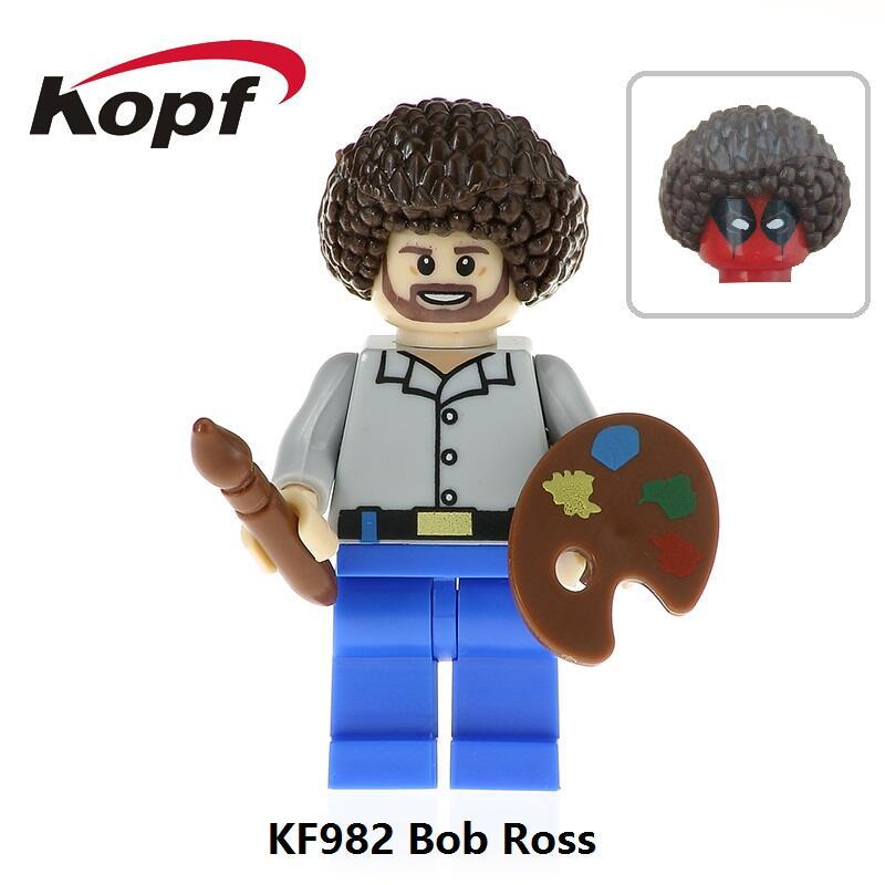Single Sale Building Blocks Super Heroes Bob Ross American Painter The Joy of Painting Bricks Education Toys Children Gift KF982 super heroes single sale the villain of yellow lantern skeletor heman he man he man building blocks toys for children gift kf921