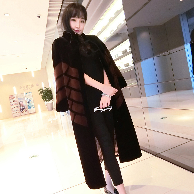 Nerazzurri Brand Long Faux Fur Coat Women 2019 Winter Patchwork Fur Clothes Thick Warm Overcoat Plus Size Outerwear 5XL 6XL 7XL