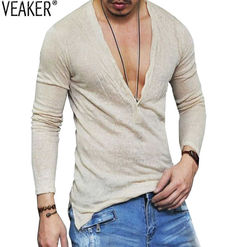 2019 Men's Autumn Linen T Shirt Male Sexy Deep V Neck Slim Fit T Shirts Casual White Long Sleeve Linen T-shirts Tops S-2XL