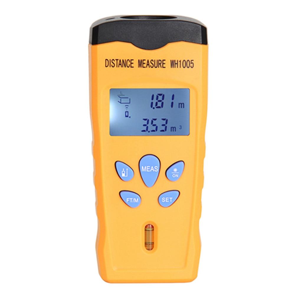 все цены на WH1005 Ultrasonic Laser Distance Meter Mini Range Finder Pointer Area Volum Meter Measure Tester Portable 0.5-18M Backlight онлайн