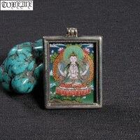 Непал, ручная работа 925 серебро 4 hand подвеска с avalokiteshvara Тибетский Tangka кулон буддийский четыре руки каньин амулет Tangka живопись