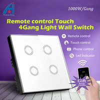 New 1000W 4 Gang 1 way Remote control switch 220v, UK Standard Luxury Light Switch and Crystal Glass Panel Touch Wall Switch