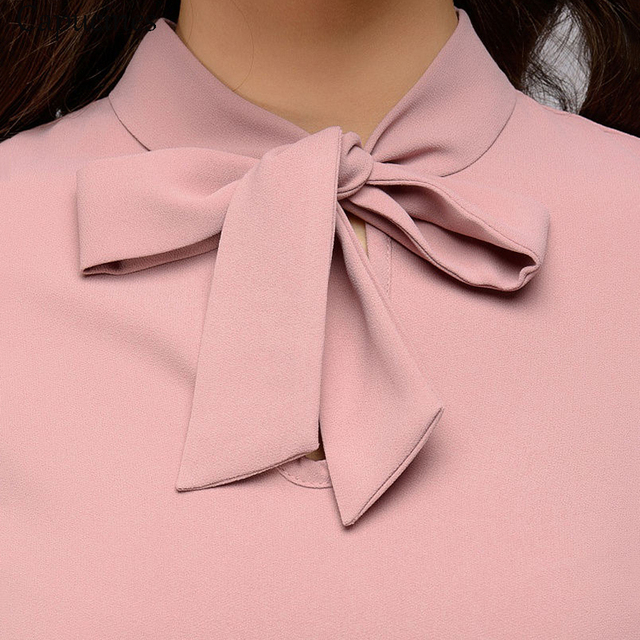 Capucines Elegant Bow Tie Women Shirt 2019 Spring Ladies Solid Long Sleeve Chiffon Shirts Casual Blouses Vintage Tops Blusas
