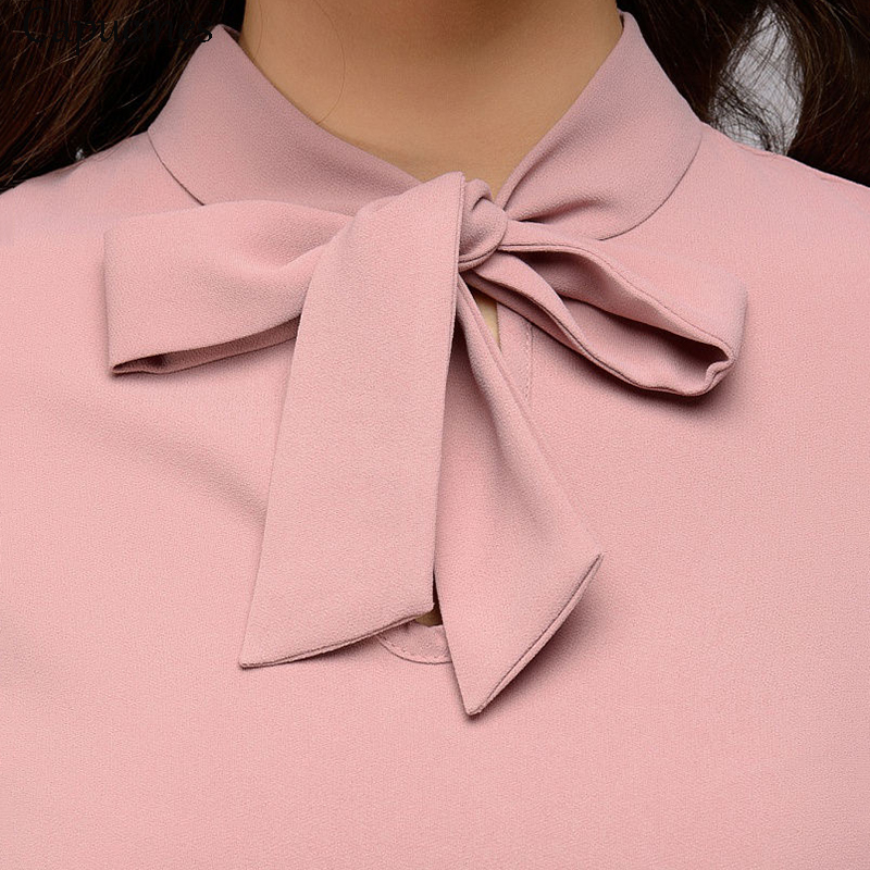 Capucines Elegant Bow Tie Women Shirt Spring Autumn Ladies Solid Long Sleeve Chiffon Shirts Casual Blouses