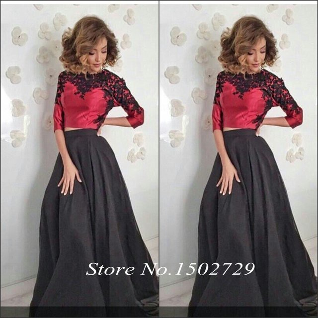 0d20963504873 Burgundy Arabic Black Lace Two Pieces Prom Dresses with Sleeves Crop Top  Long Dubai Women Maxi Evening Party Gowns Vestido Longo-in Prom Dresses  from ...