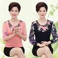 Nueva moda de verano de las mujeres de mediana edad otoño media manga de la camiseta madre clothing gasa superior femenina nueva llegada pullover