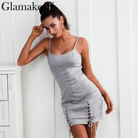 Glamaker Lace Up Sleeveless Women Dress Sexy Backless Halter Mini Dress Women Split Black Dress Party