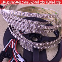 1M 2M SK6812 MINI 3535 addressable RGB led pixel strip 144LEDs/m DC5V NON waterproof IP67 with 144pixels/M 8mm WHITE PCB