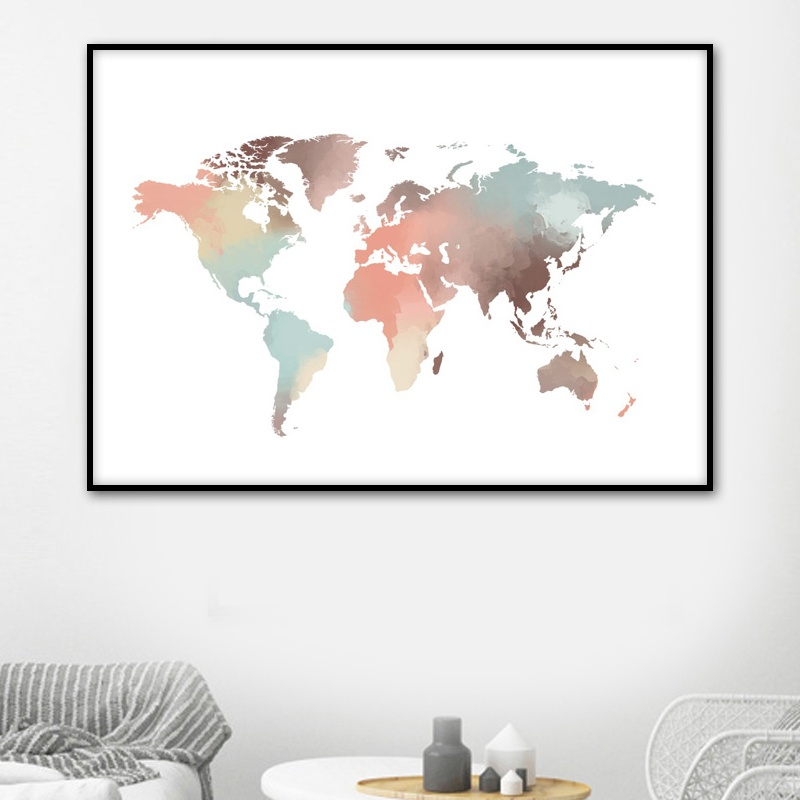 Abstract Watercolor World Map Canvas Painting Nordic Posters And Prints Wall Art Canvas Paintings For Living Room Wall Decor
