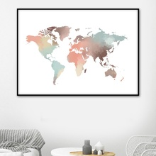 купить Abstract Watercolor World Map Canvas Painting Nordic Posters And Prints Wall Art Canvas Paintings For Living Room Wall Decor по цене 203.27 рублей