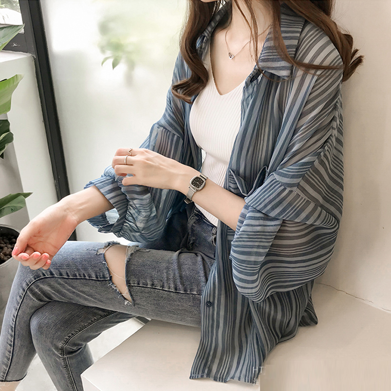 Plus Size M-4XL Women Striped Transparent Chiffon Thin   Blouses     Shirts   Cardigans Female Full Sleeve Tops   Blouses   Girls Summer