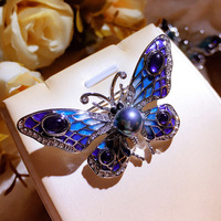 the new enamel painted high grade natural freshwater pearl brooches butterfly double sweater chain with female clothing