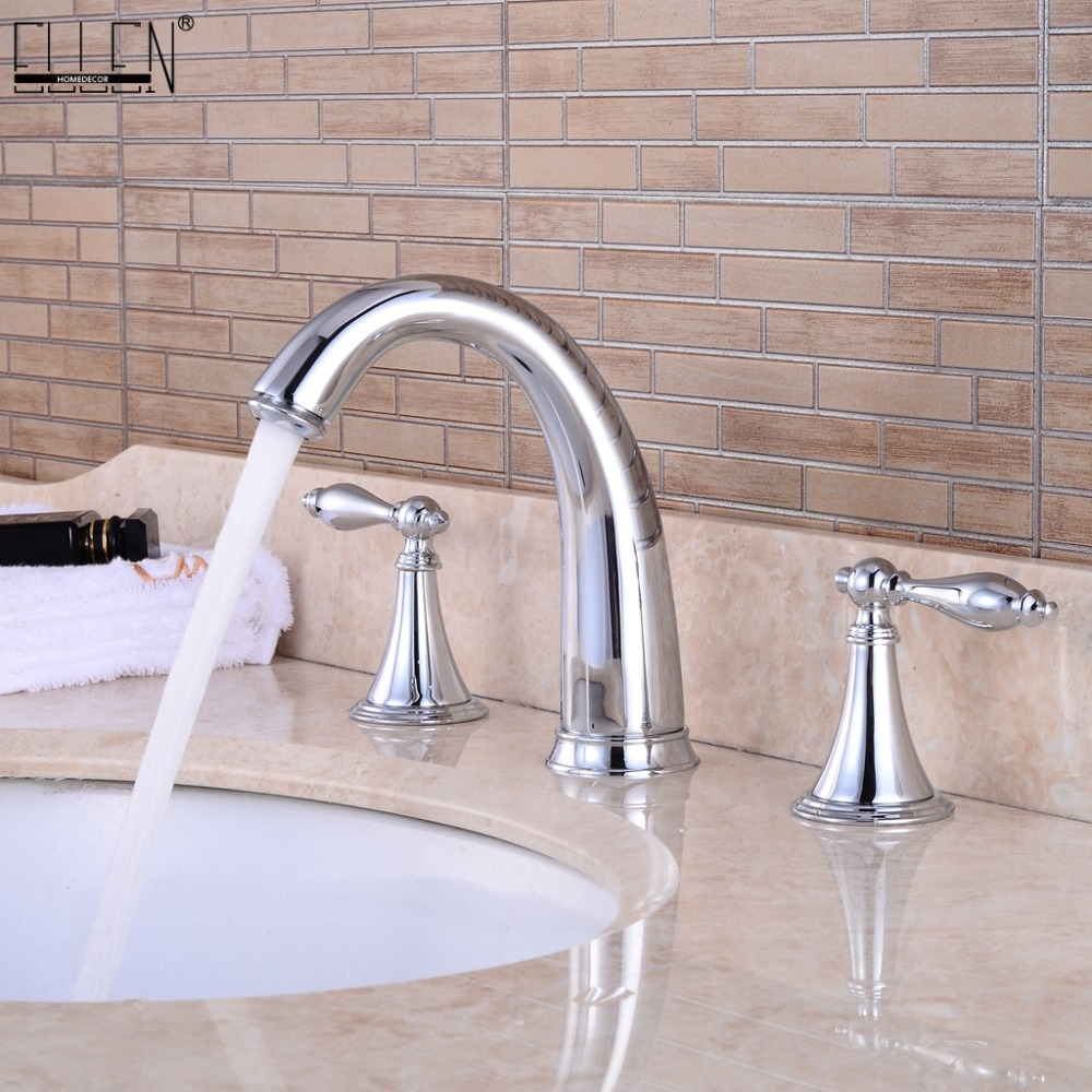3 Hole Widespread Bathroom Sink Faucet Deck Mounted Dual Handle Hot Cold Water Mixer Tap Brush