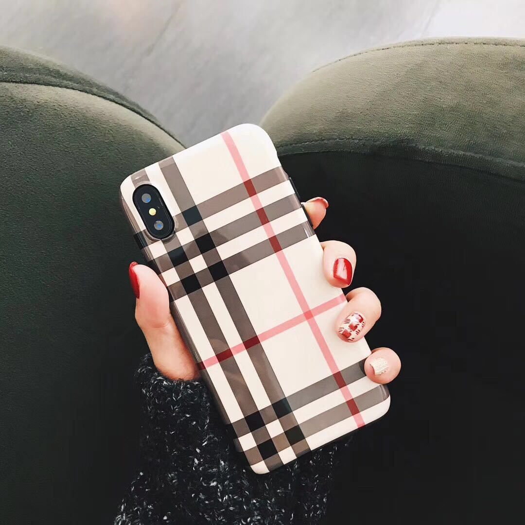 European Style Lattice Phone Iphone X Luxury Grid Patterned Back Cover For Iphone 6 7 6S 8 Plus X Cases Covers