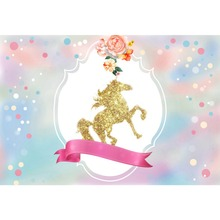 Laeacco Cartoon Unicorn Baby Newborn Party Flowers Photography Backgrounds Customized Photographic Backdrops For Photo Studio