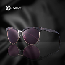 AOUBOU Brand Fashion Arc Design Cat Eye Sunglasses For Women Oversized Round Frame Catwoman Sun Glasses Pink Diamond Sol AB728