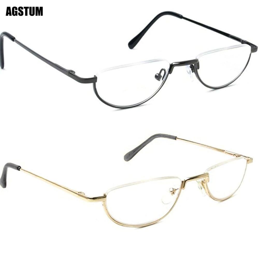 Vintage Spring Hinge Half Moon Eyeglass Frames Reading