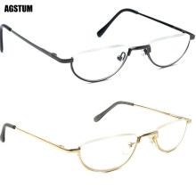 Vintage Spring Hinge Half Moon Eyeglass Frames Reading Glasses +1 +1.75 +2 +3 +4