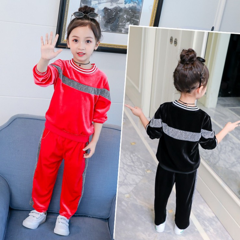 Children Clothing set 2018 Autumn Girls Clothes 2pcs Set long sleeve Christmas Outfit Kids Clothes Tracksuit Suit For Girls 2018 kids girls clothes set baby girl summer short sleeve print t shirt hole pant leggings 2pcs outfit children clothing set