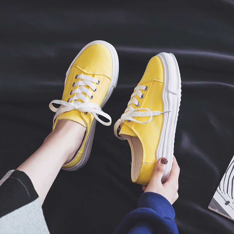 Summer new Korean version without heel white half slung canvas shoes female students Hong Kong style shoes a pedal lazy tide sho in Women 39 s Flats from Shoes