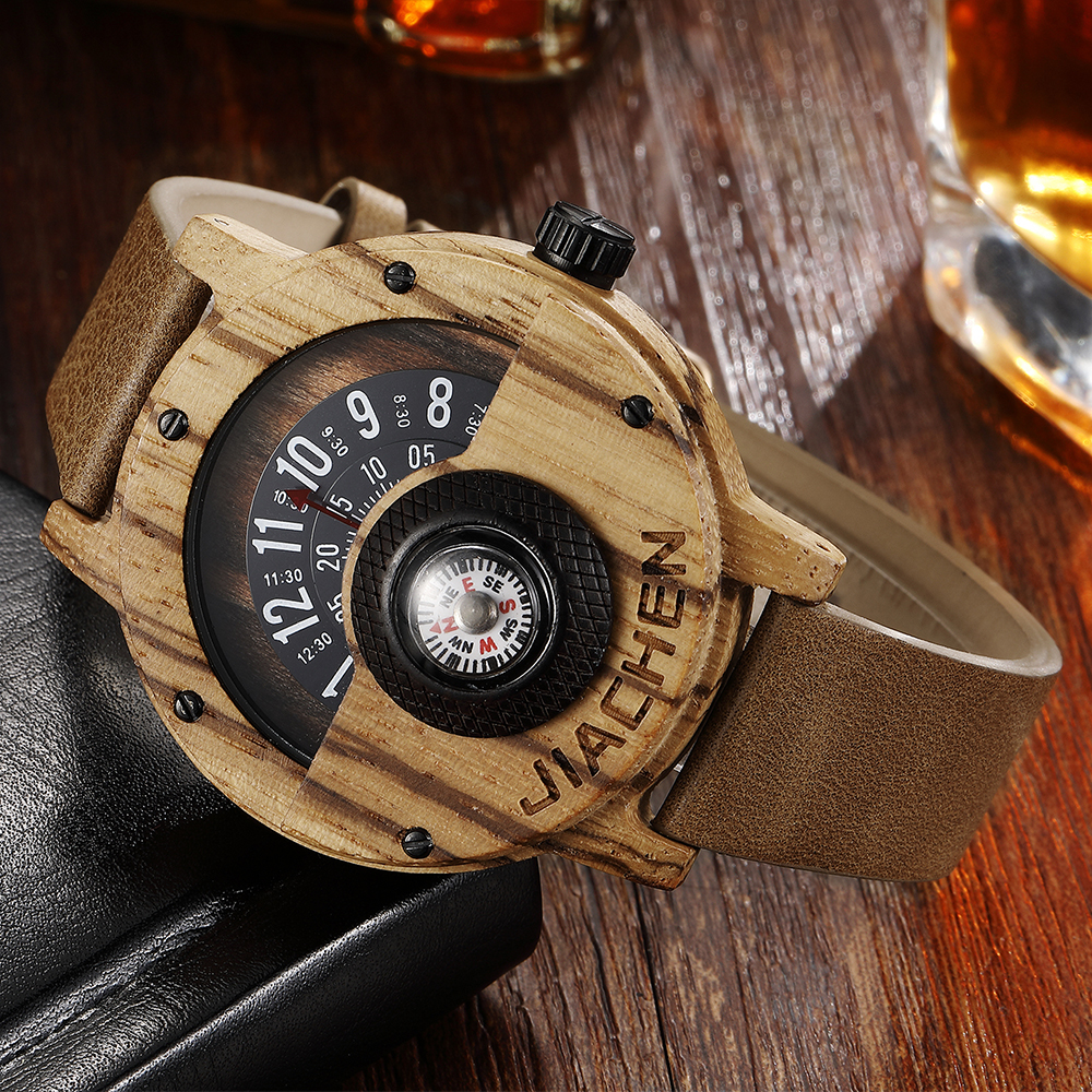 Creative Men Wood Watch Mens Wooden Wrist Watches Creative Real Solid Natural Walnut Rosewood Male Turntable