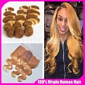 Malaysian Virgin Hair Body Wave 3 Bundles With Silk Base Frontal Closure #27 Honey Blonde Human Hair With Silk Top Lace Frontal