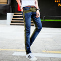 Tide Male Cowboy Hole Men Jeans Washed Men' Jeans Pants Slim Straight Korean Men Jeans New 2016 Skinny Jeans Men Size 28-34