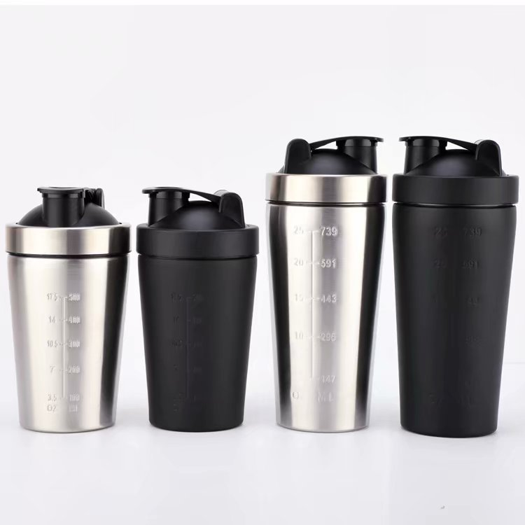 739ml 500ml 304 Stainless steel protein powder shaker blender water bottle fitness home office whey camping sport drinking water image