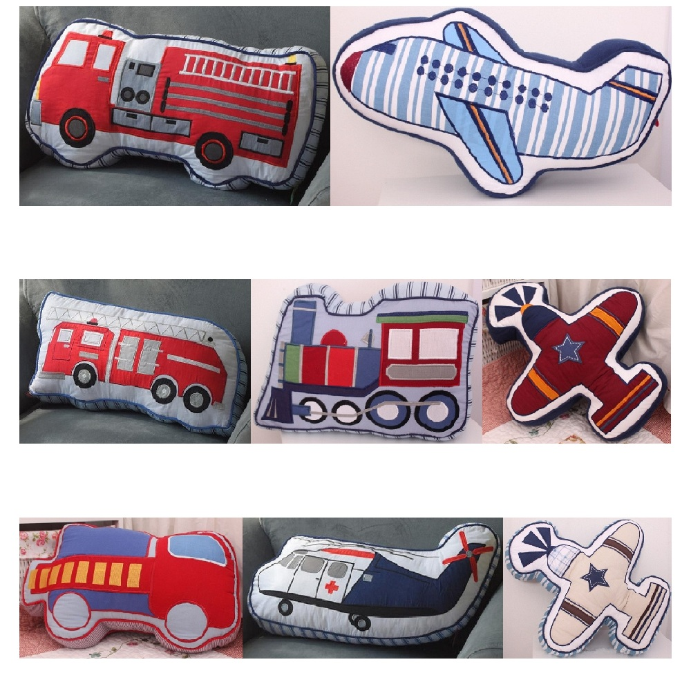 Cartoon Fire Truck Train Fighter Plane Shape Cushion Pillow Kids Bed Room Decor Calm Sleep Dolls Toys Boys Love Photo Props new arrival handmade lovely cartoon animals plush dolls stuffed cushion pillow toys gifts nordic kids room bed decor photo props