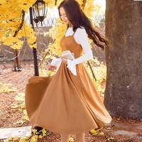 2017Autumn Women Dress Set Butterfly Sleeves Knitted Tops Strap Dress Female Cultivating Casual Vestidos Plus Size