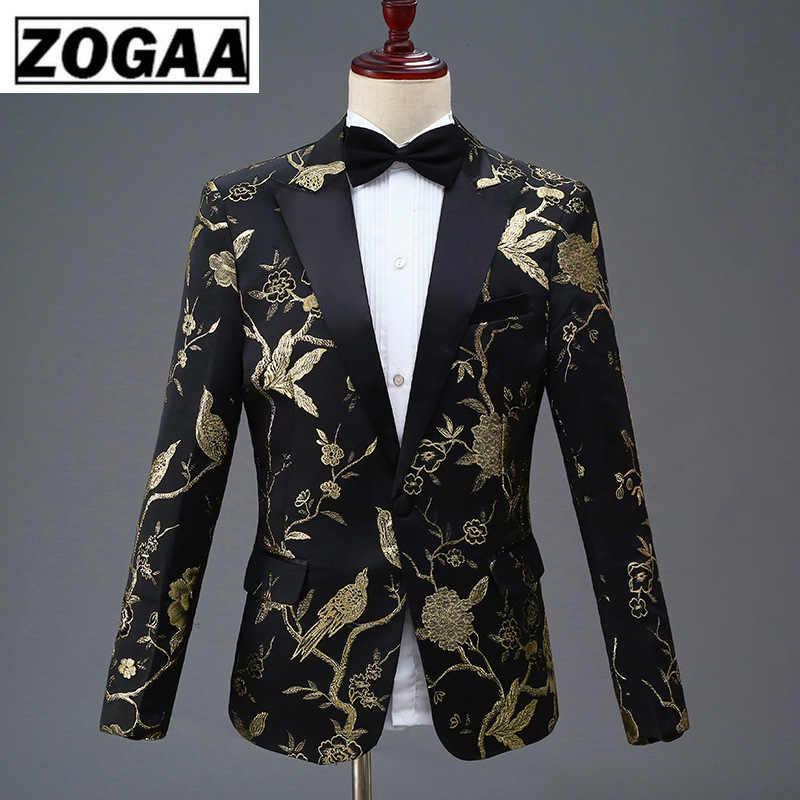 ZOGAA nuevo diseño para hombre elegante bordado azul real verde rojo Floral patrón trajes escenario cantante boda novio esmoquin traje