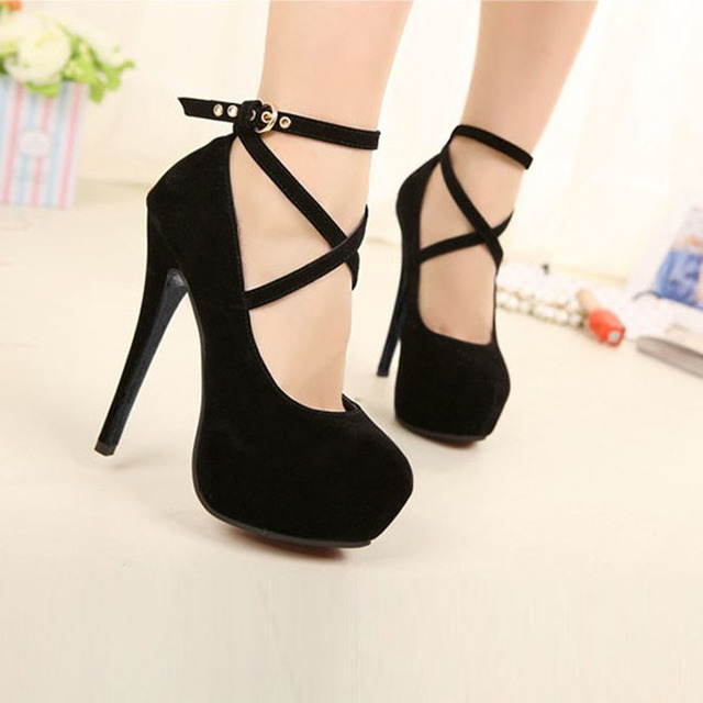 Sexy Formal OL Style Ankle Strap Lace-up Platform High Heel Shoes Large Size Black Red Womens Pumps Spaghetti Heels High Heels