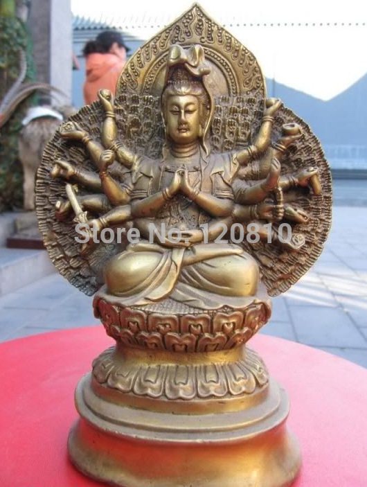 Tibet temple brass 1000 Arm hands Avalokitesvara Kwan Yin Guan Yin Buddha statue