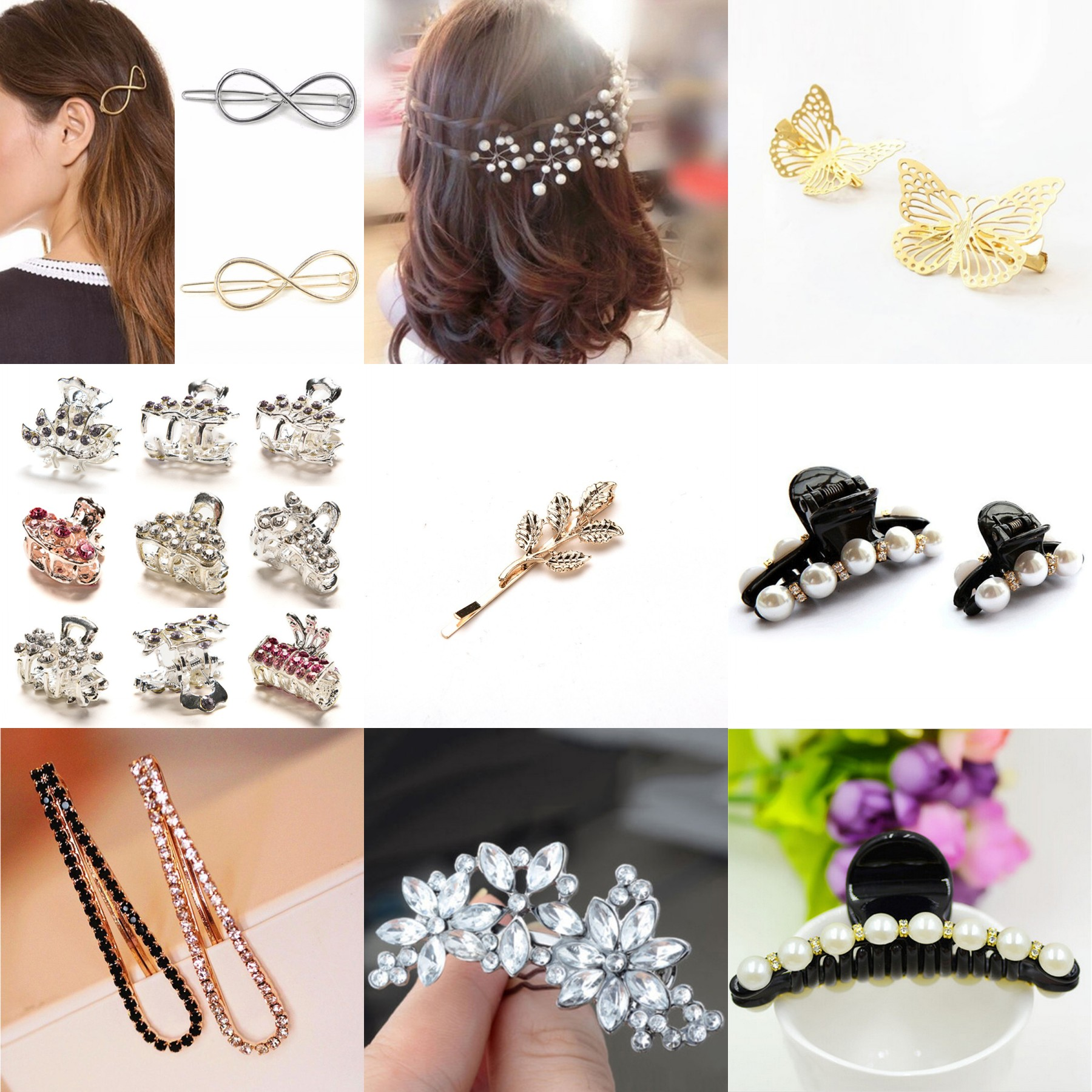 12 Pcs Crystal Pearl Flower Butterfly Mini Hair Claw Clamp Hair Clip Hair Pins