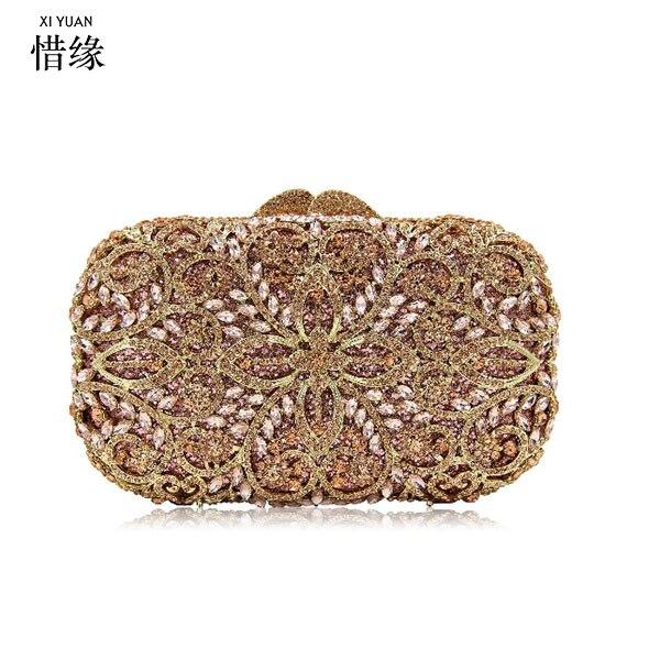 XIYUAN BRAND Women Gold Metal Clutches  Minaudiere Handbags Purses Diamond Evening Wedding Cocktail Clutch Bag champagne
