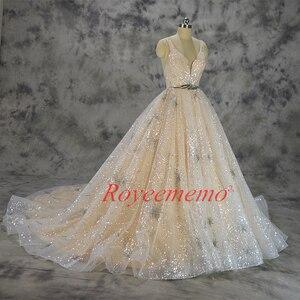 Image 2 - Vestido de Noiva glänzende spitze design hochzeit kleid pailletten spitze brautkleid nach maß fabrik großhandel preis braut kleid