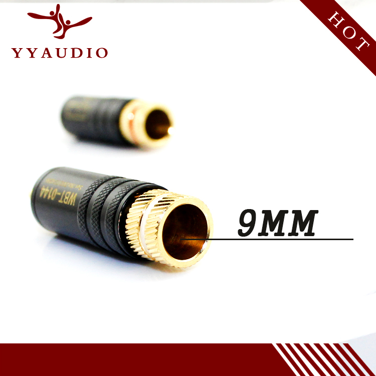 cheapest 4pcs Lot New Gold Plated Copper RCA Plug Mayitr Durable RCA Connector Screws Soldering Locking Audio Video WBT Plug 53mm 13mm