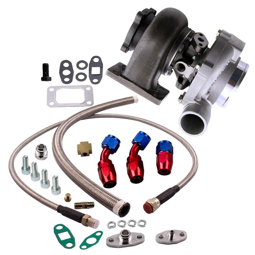 Eau + Huile GT30 GT3037 GT3076R Turbocompresseur 500HP + de Vidange D'huile D'ALIMENTATION en Retour Ligne Bride A/R. 6 Turbine A/R. 82 D'eau Universel turbo
