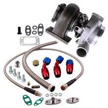 Su + yağ GT30 GT3037 GT3076R turbo 500HP + yağ boşaltma dönüş besleme hattı flanş A/R .6 türbini A/R .82 su evrensel turbo