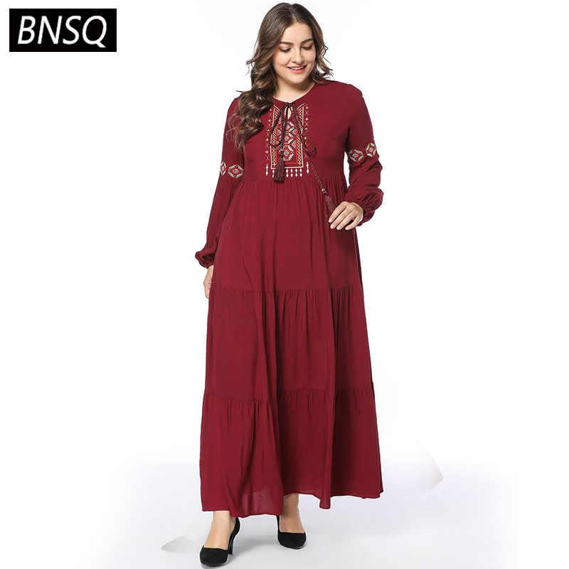 Bnsq Primavera 2019 Mujeres Vestido Largo Vintage étnico Bordado Maxi Vestidos Elegante Manga De Obispo Swing Drapeado Atado Cuello En O Rojo Vino