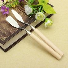 2 шт./лот, палитра для рисования, нож из нержавеющей стали, шпатель, масляная краска, художественный набор металлических шпателей, идеальный(плоский+ наконечник
